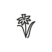 Spring flower line icon. Wildflower, flowerbed, plant. Easter concept. Vector illustration can be used for topics like season, holiday, nature