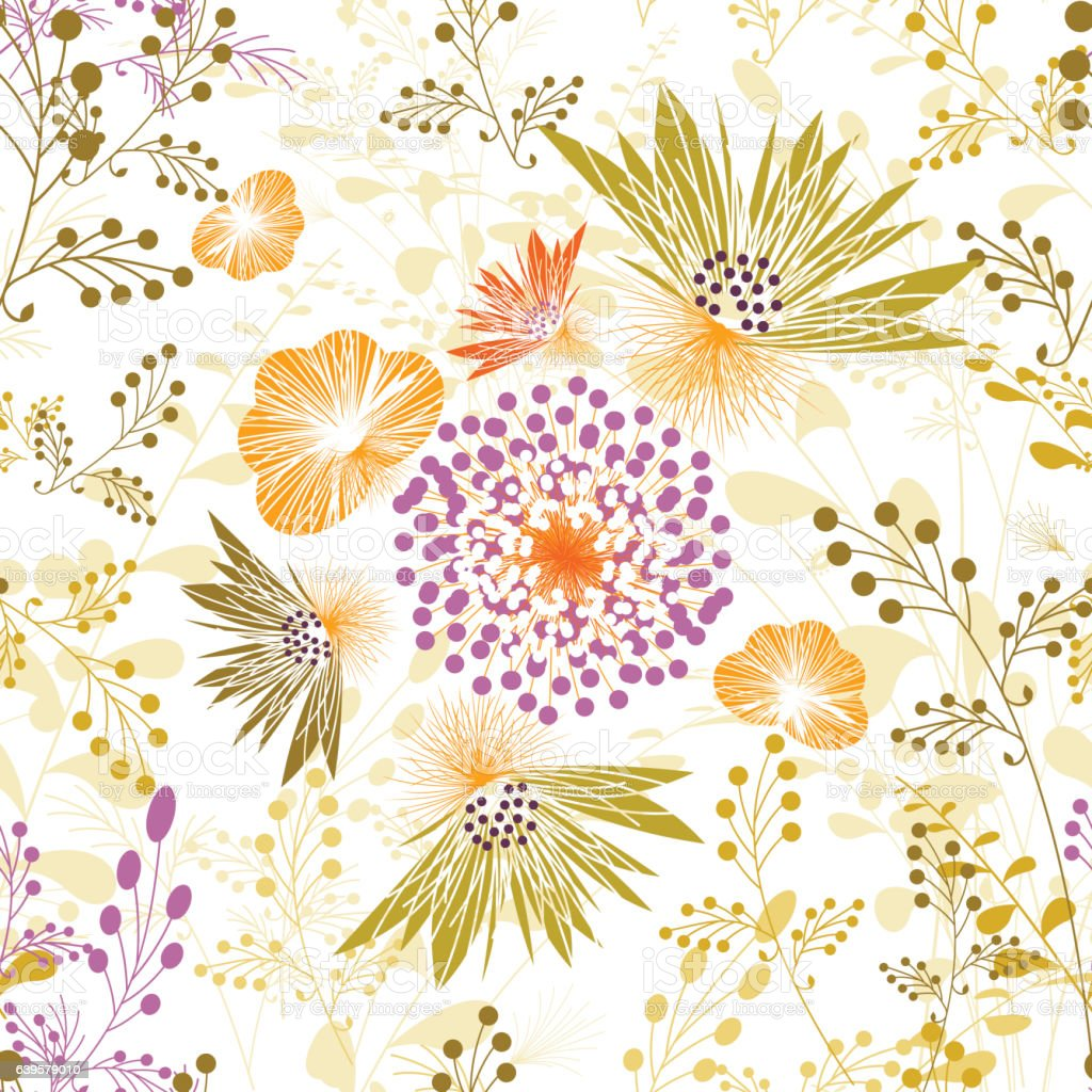 Spring Flower Pattern Seamless Floral Wallpaper Wrapping Paper