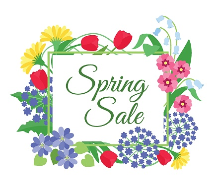 Spring flower sale background. Mother day, 8 march discount promotion banner with spring flowers. Floral coupon