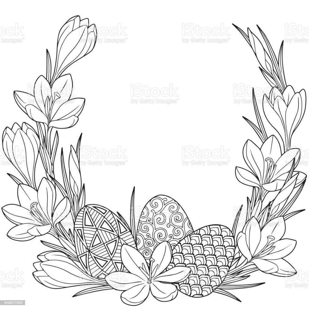 Couronne Du Printemps Fleur De Crocus Et Pâques Egss