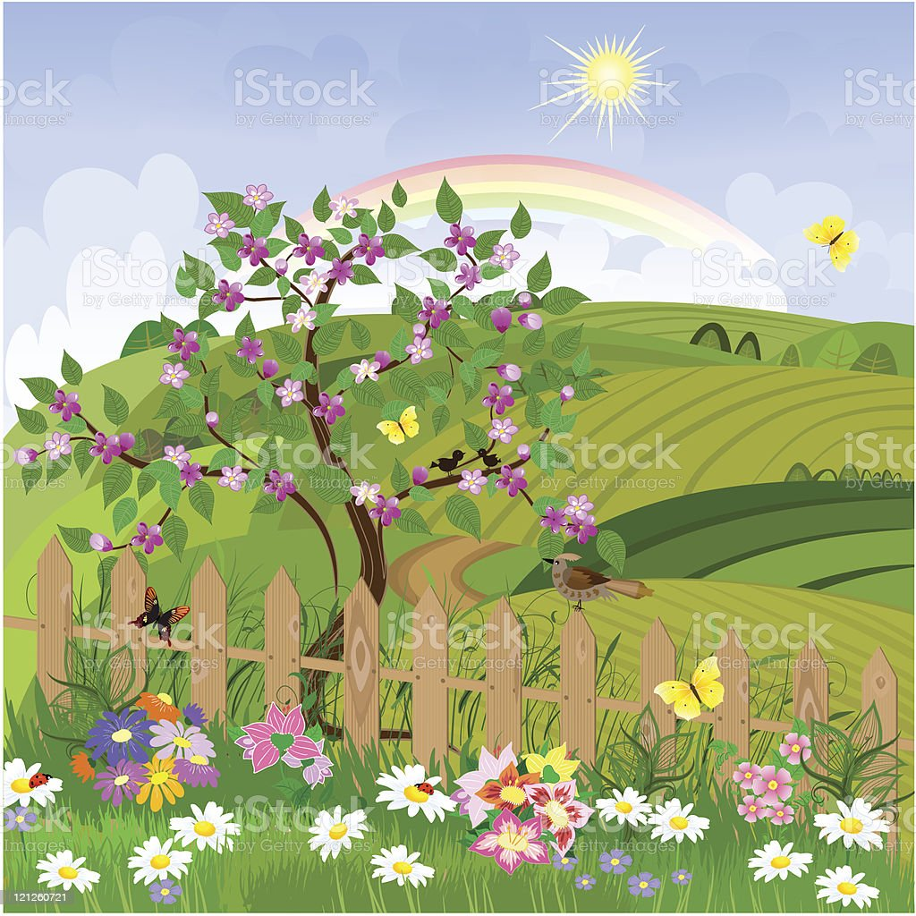 Spring flowering tree royalty-free stock vector art