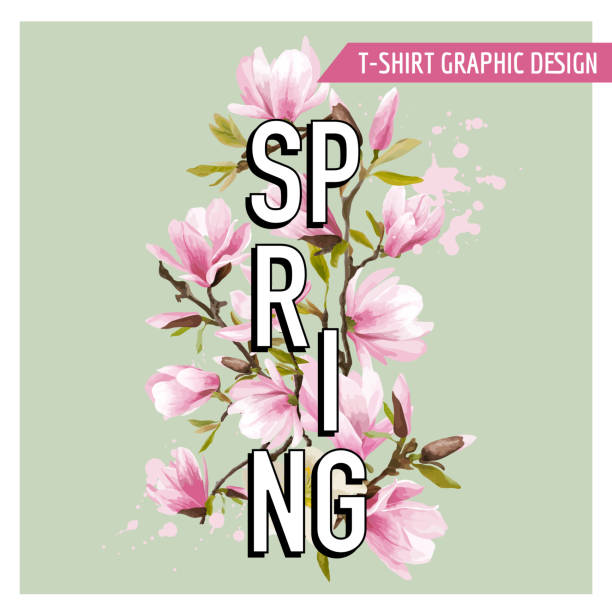 spring flowers and leaves background. t-shirt fashion graphic - spring fashion stock illustrations, clip art, cartoons, & icons