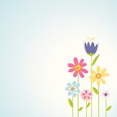 A vector illustration of flowers with space to add your own copy. There are separate layers for easier editing.