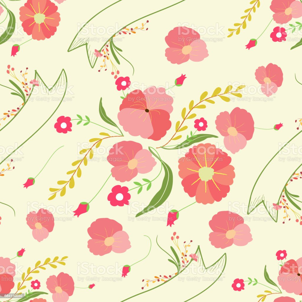 Spring Flowers Backgrounds Seamless Floral Pattern Stock Vektor Art