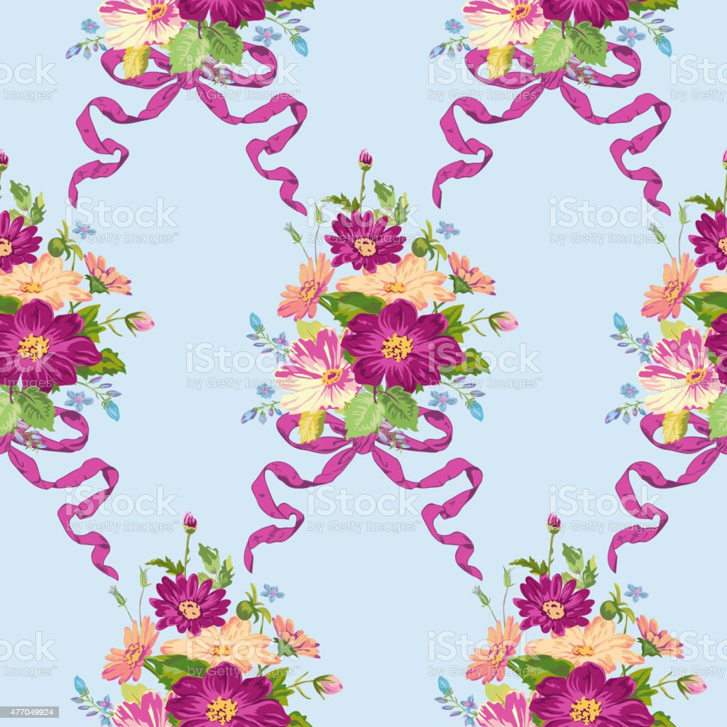 Spring Flowers Backgrounds Seamless Floral Shabby Chic Pattern Stock