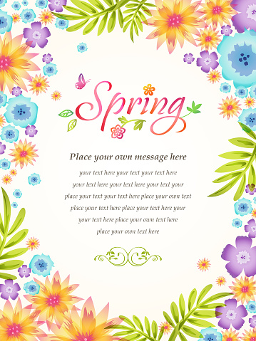 Spring Flowers Blooming Frame Background