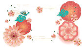 Spring flowers, blossom sakuras, blooming peach garden, elegant peony, lanterns, peacock, floral pattern. Happy Chinese New year, Fortune luck symbol, paper art style. Traditional lunar year greeting card decoration. Place for text, Vector