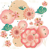 Spring flowers, blossom sakuras, blooming peach garden, elegant peony, lanterns, peacock, floral seamless pattern. Happy Chinese New year - text, Fortune luck symbol, paper art style. Traditional lunar year greeting card decoration. Vector