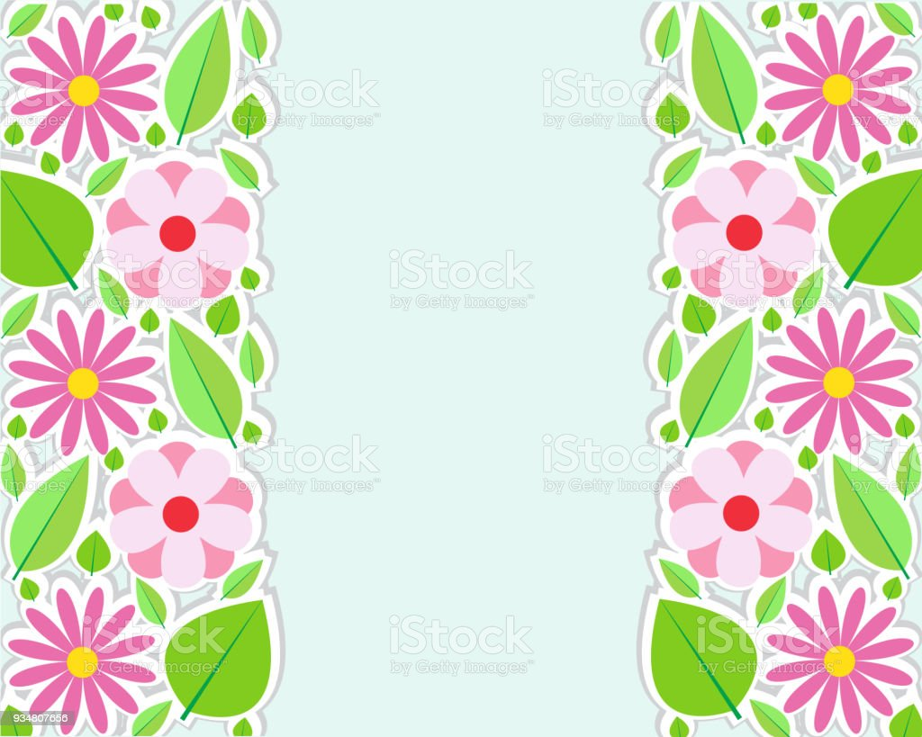 Spring Flowers Border Vector Illustration Stock Vector Art More