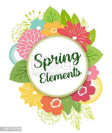 istock Spring Flowers Botanical Design Elements Vector 1297773720