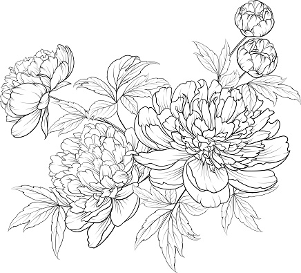 Spring flowers bouquet of contour style flower garland. clipart