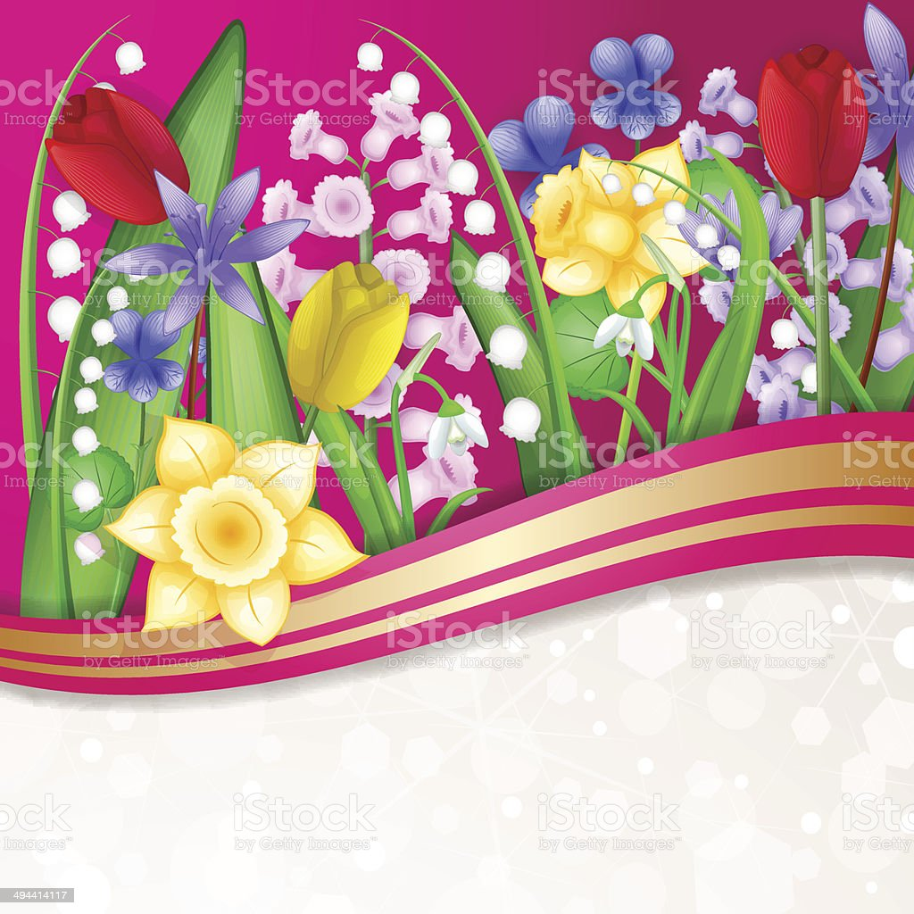 Spring flowers card vector art illustration