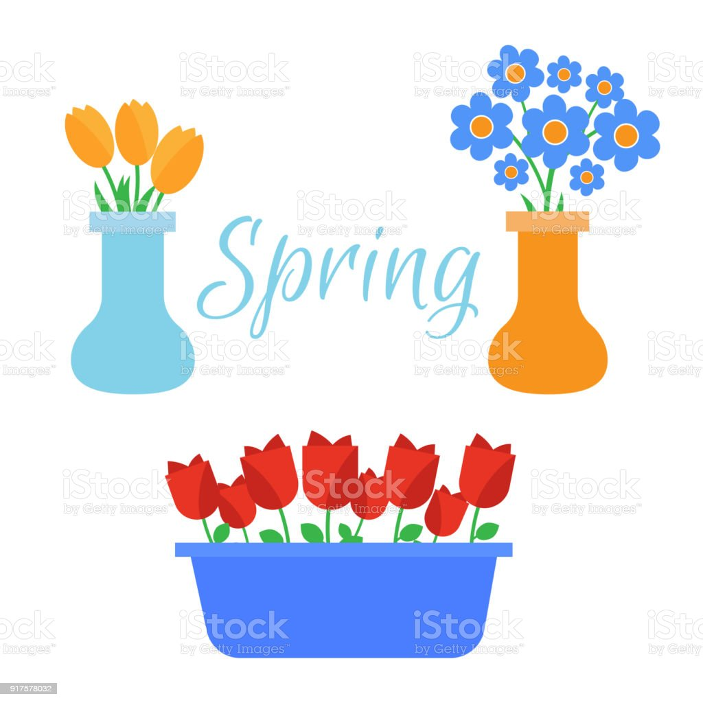 Spring Flowers Cute Vector Spring Flowers Icons Simple Flowers Stock