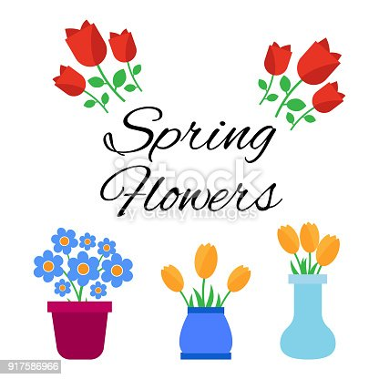 Spring flowers cute vector spring flowers icons simple flowers stock vector art more images of abstract 917586966 istock