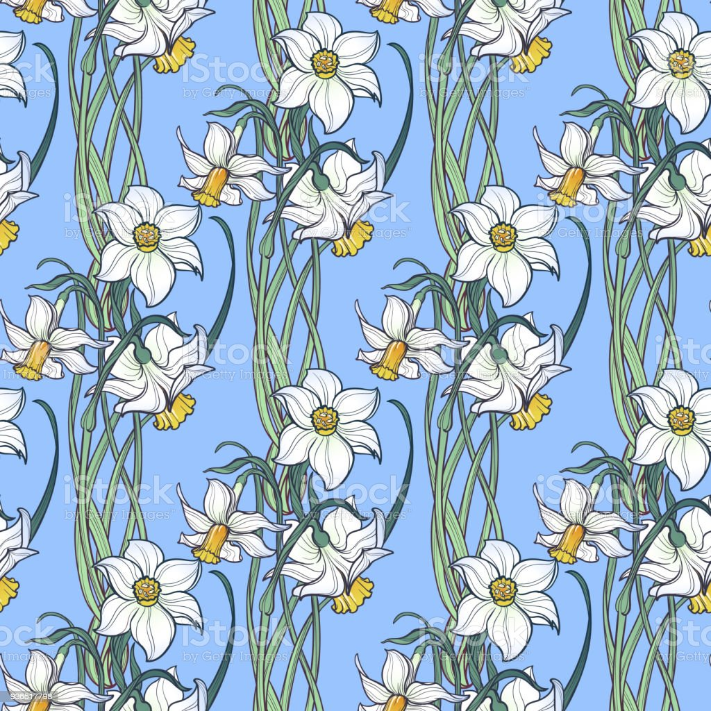 Spring Flowers Daffodil And Snowdrop Flowers Interlaced Into An