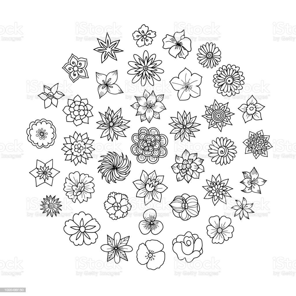 Spring Flowers Doodles vector art illustration
