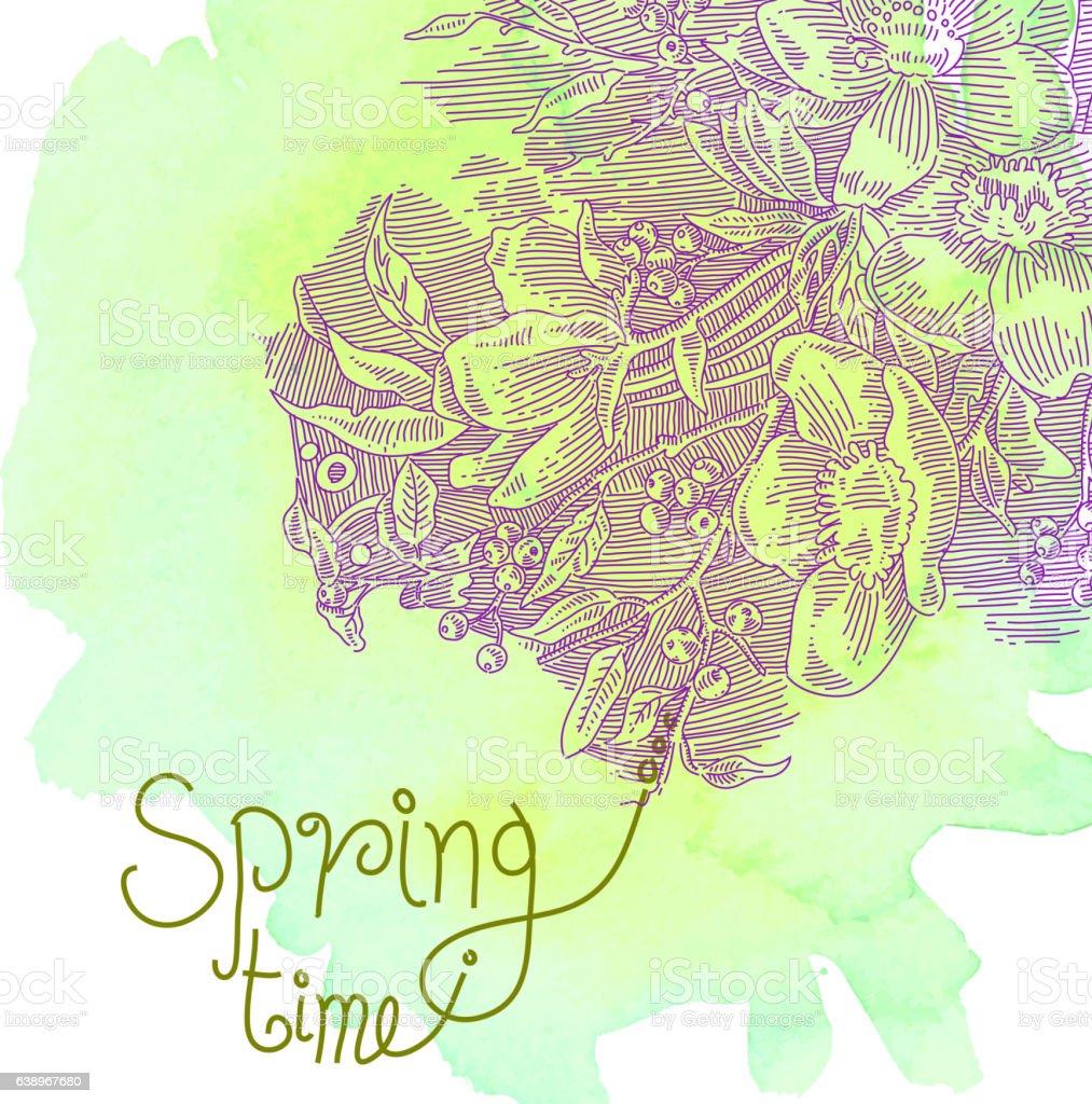 Spring Flowers Drawing Stock Vektor Art Und Mehr Bilder Von Aquarell