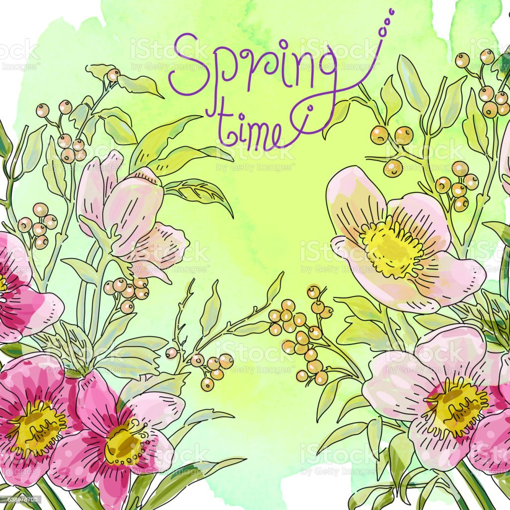 Spring Flowers Drawing Stock Vector Art More Images Of Backgrounds