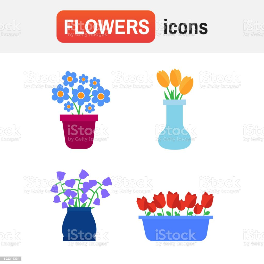 Spring flowers. Fun and cute vector spring flowers icons vector art illustration