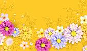 Hello Spring, flowers illustration