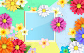 Hello Spring Background, flowers illustration