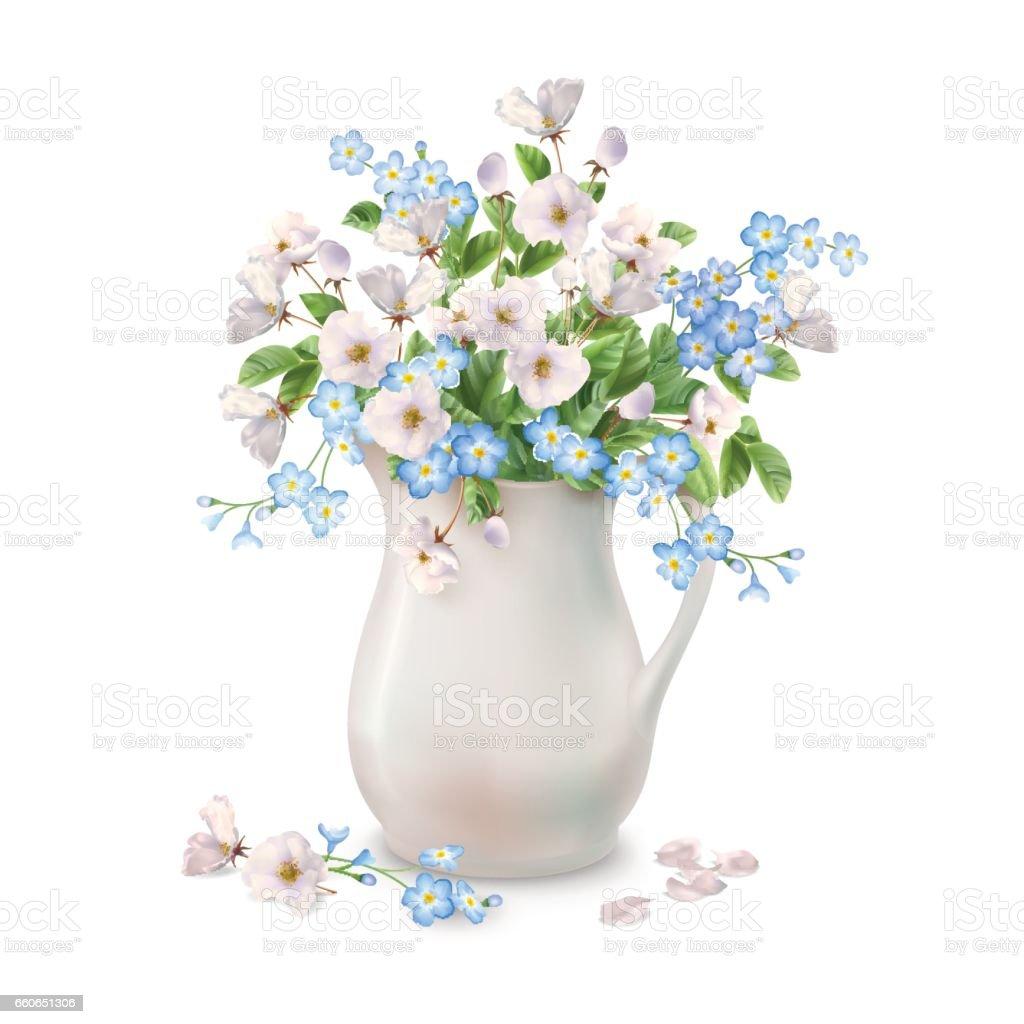 Spring Flowers in Jug vector art illustration