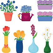 Flower pots icons. Spring flowers in pots and vases set. Vector illustration
