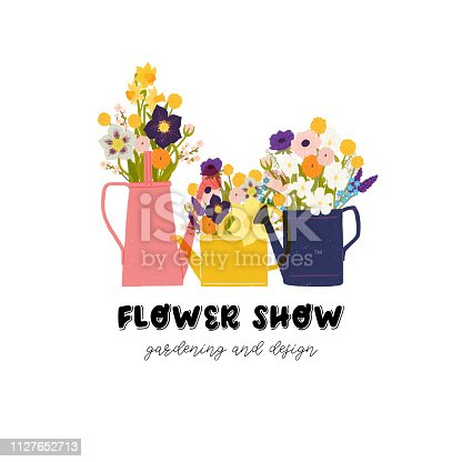 Spring colorful flower Bouquets in watering cans and hand lettering Flower show gardening and design. Flat style vector illustration for greeting and invitation cards, poster, banner, flyer, bag