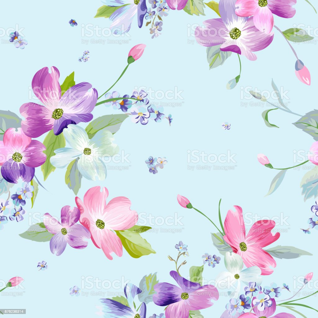 Spring Flowers Seamless Pattern Watercolor Floral Background For