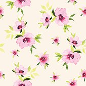Spring flowers seamless pattern. Watercolor. For tissue and wrapping paper. Festive pattern.