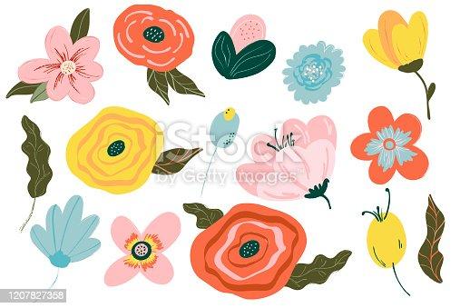 istock Spring Flowers Set. Flowers for the garden.Gardening. Isolated illustration on white background. Flowers collection illustration. Elements, clipart vector 1207827358