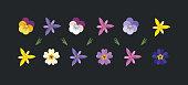 istock Spring flowers set. 1214758257