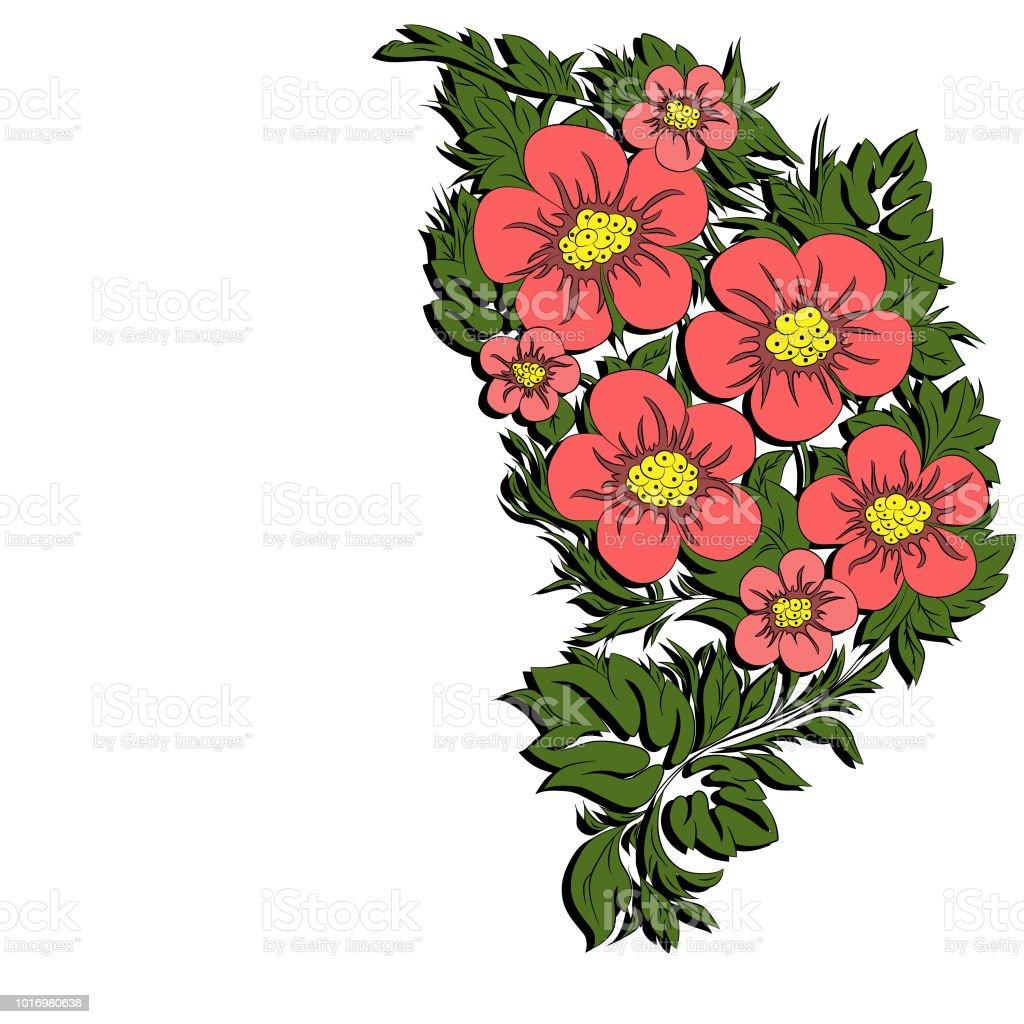 Printempsfleurs Tropicale Sur Une Branche Illustration Vectorielle