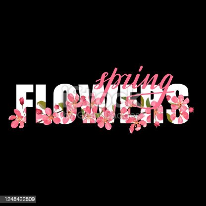 Spring Flowers t-shirt fashion print with pink cherry blossom