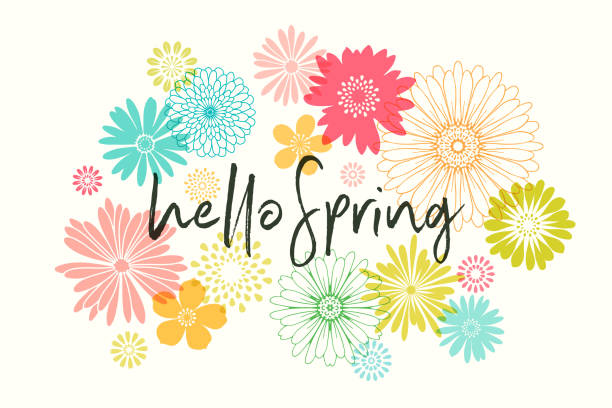 Spring Flowers Colorful graphic flowers illustration. springtime stock illustrations