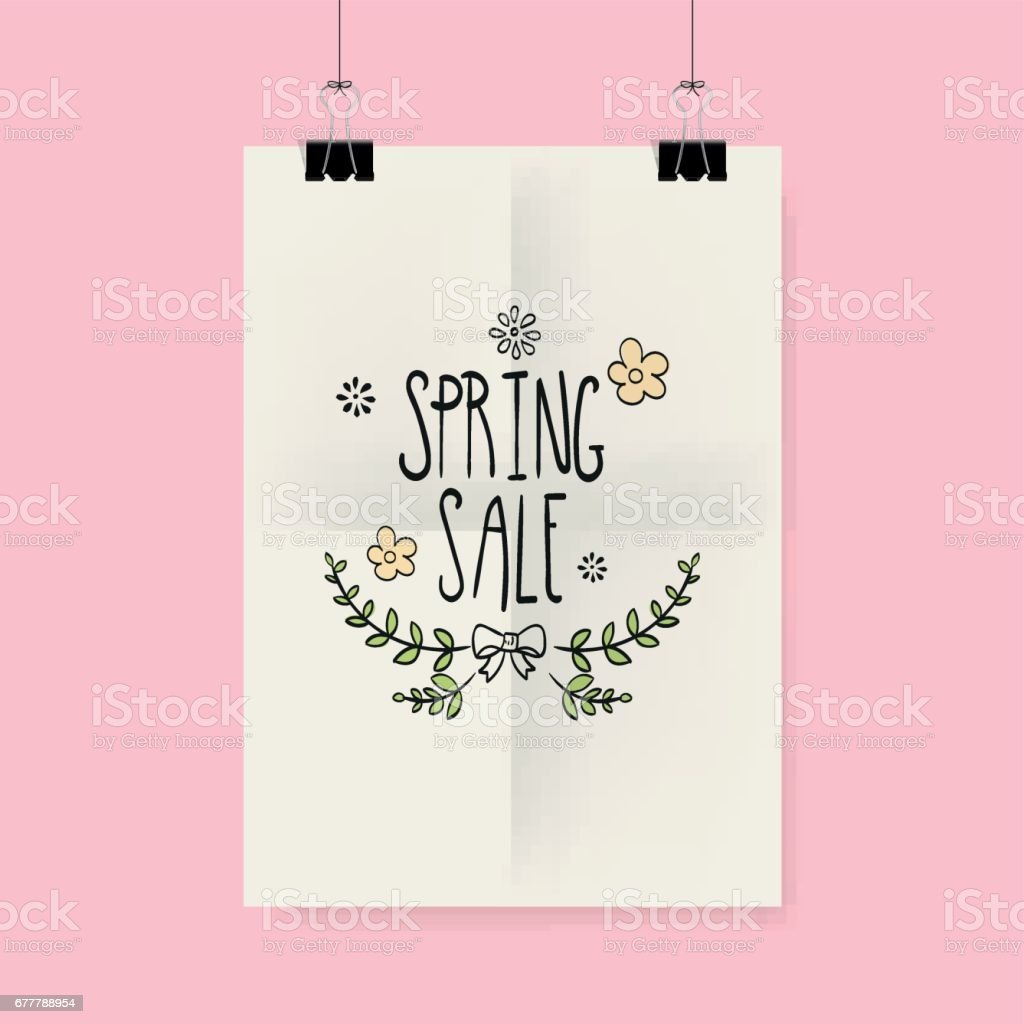 Spring Flyer or Cover Design, with hand drawn lettering. royalty-free spring flyer or cover design with hand drawn lettering stock vector art & more images of abstract