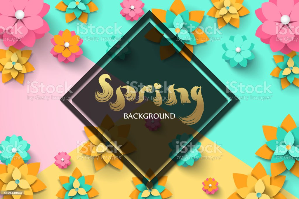 Spring Flyer Template With Paper Cut Flowers With Frame Bright