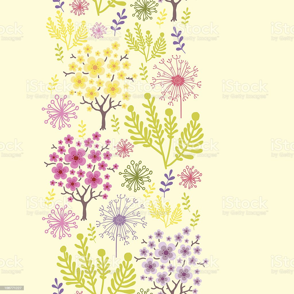 Spring Forest Floral Vertical Seamless Pattern royalty-free spring forest floral vertical seamless pattern stock vector art & more images of abstract
