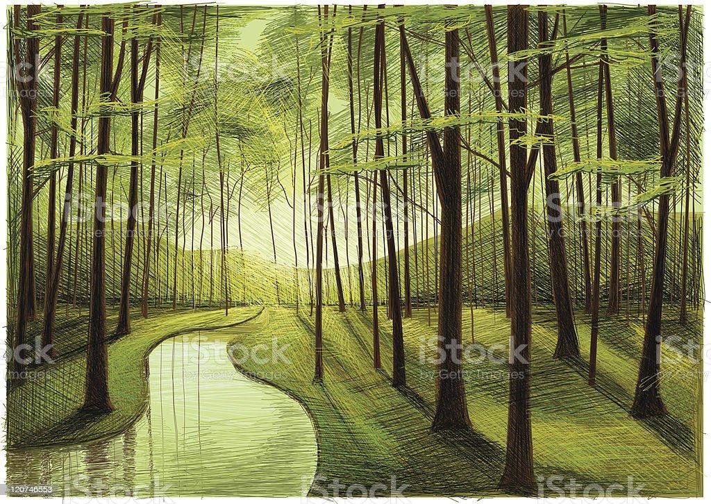 spring forest - ilustração de arte em vetor