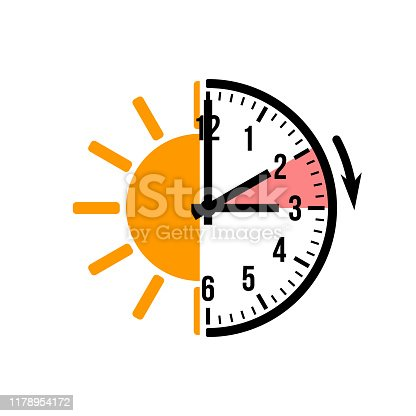 istock spring forward 1 hour, vector icon with sun 1178954172