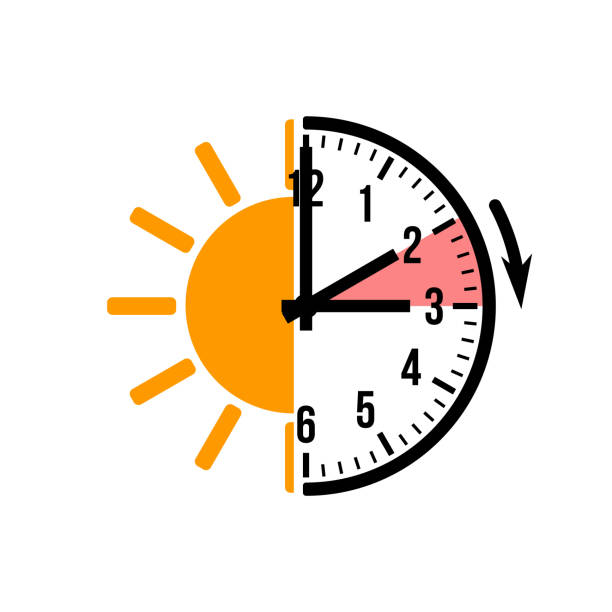 spring forward 1 hour, vector icon with sun spring forward 1 hour, vector icon with sun daylight savings stock illustrations