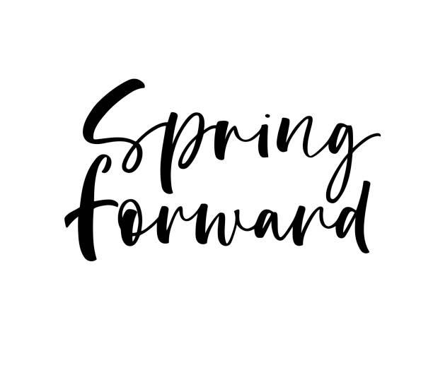 spring forward card. - spring forward stock illustrations, clip art, cartoons, & icons