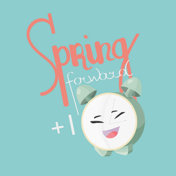 spring forward daylight vector illustration. alarm clock cute mascot and text: spring forward. daylight saving icon. - daylight savings time stock illustrations, clip art, cartoons, & icons
