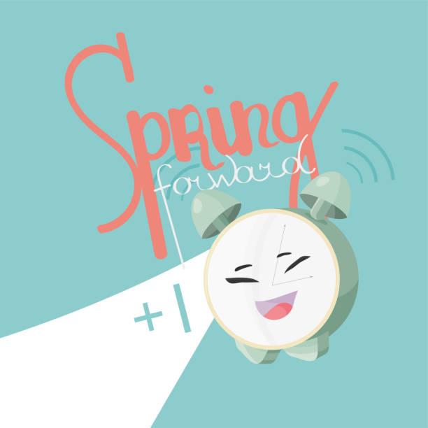 spring forward daylight vector illustration. alarm clock cute mascot and text: spring forward. daylight saving icon. - spring forward stock illustrations, clip art, cartoons, & icons