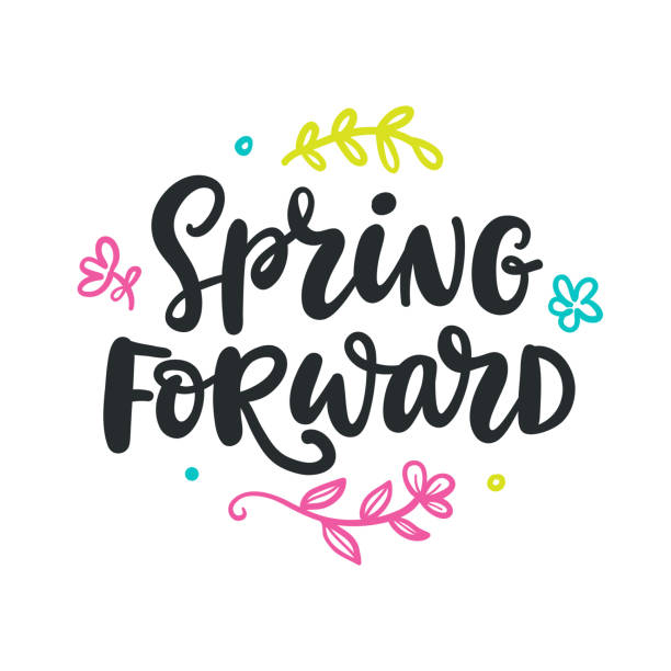 Spring forward quote. Modern calligraphy Spring forward quote. Modern calligraphy. Seasonal hand written lettering, isolated on white background. Vector illustration daylight savings stock illustrations
