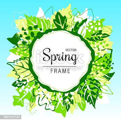 Spring frame, abstract leaf wreath background