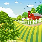 Farm in Spring.