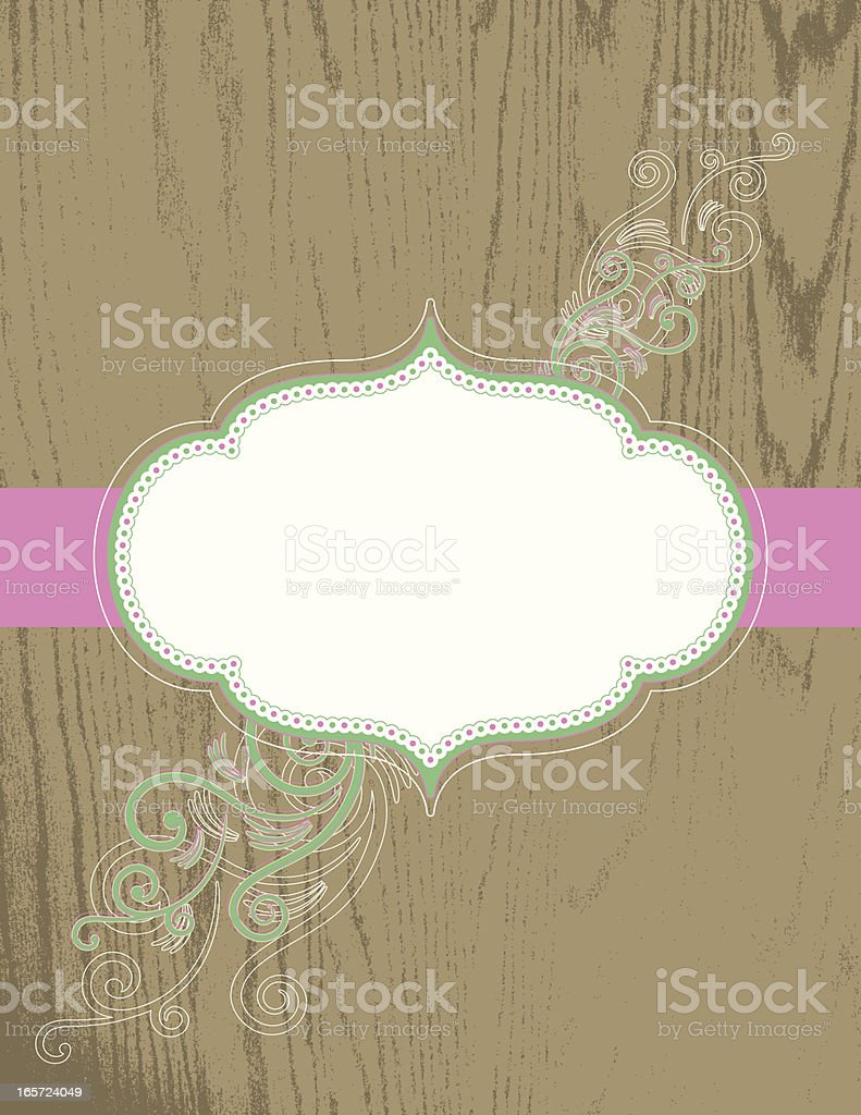Spring Frame on Wood royalty-free stock vector art