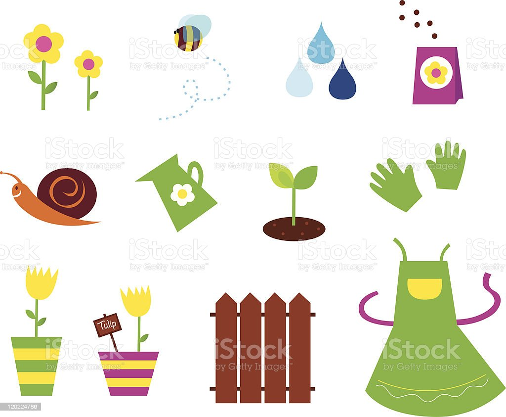 Spring garden agriculture symbols and elements green yellow pink spring garden agriculture symbols and elements green yellow pink royalty biocorpaavc