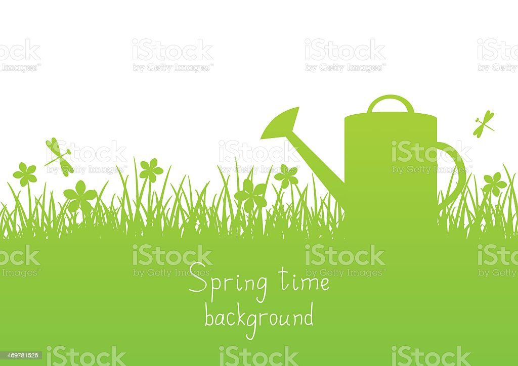 Spring garden background with place for Your text vector art illustration